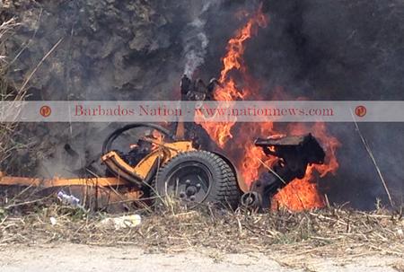 Mower burns on Ronald Mapp Highway