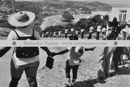 Human chain for Barbados' 50th