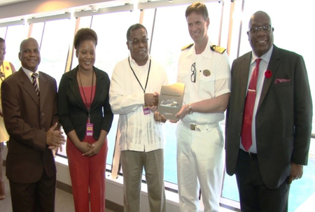 Government ministers welcome the Norwegian Getaway to St Kitts