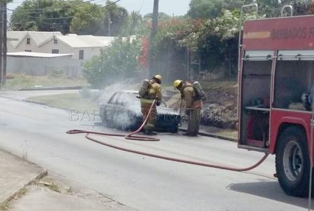 Car bursts into flames
