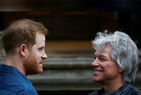 Prince Harry meets Bon Jovi