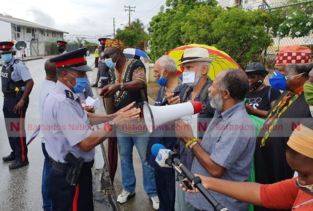 Police break up protest outside American Embassy in Barbados