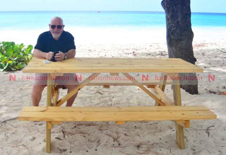 Visitors build bench for Miami Beach