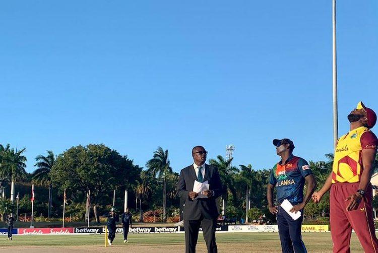 Windies fielding, after Sri Lanka win toss in second T20I