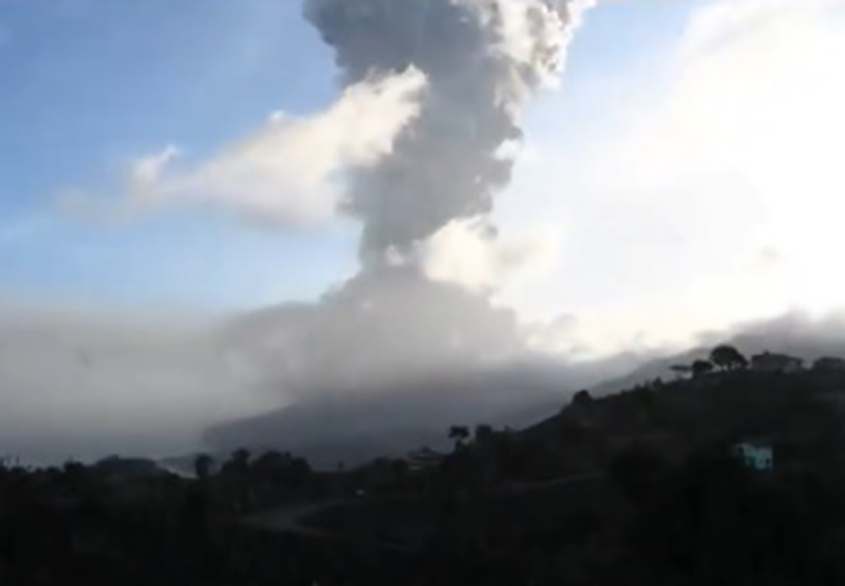La Soufriere volcano erupts on its 42nd anniversary