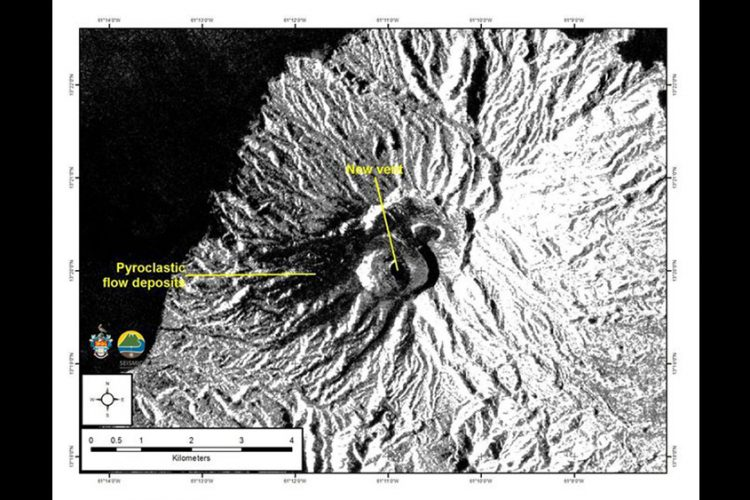 Image shows 'changes to summit crater'