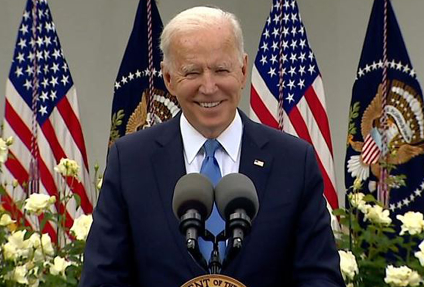 'Great day' for Americans as Biden sheds mask in Oval Office