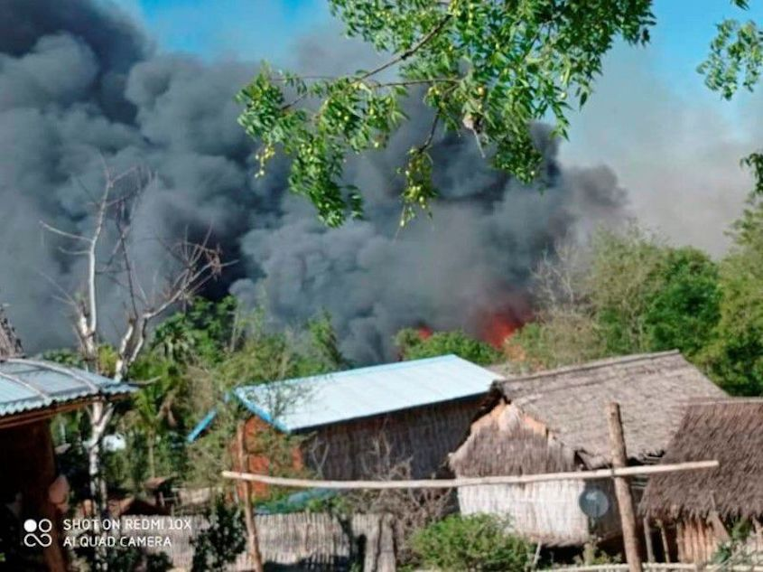 Residents blame security forces for burning village