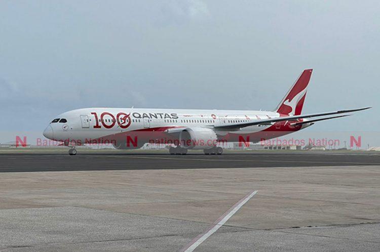 Qantas aircraft lands at GAIA