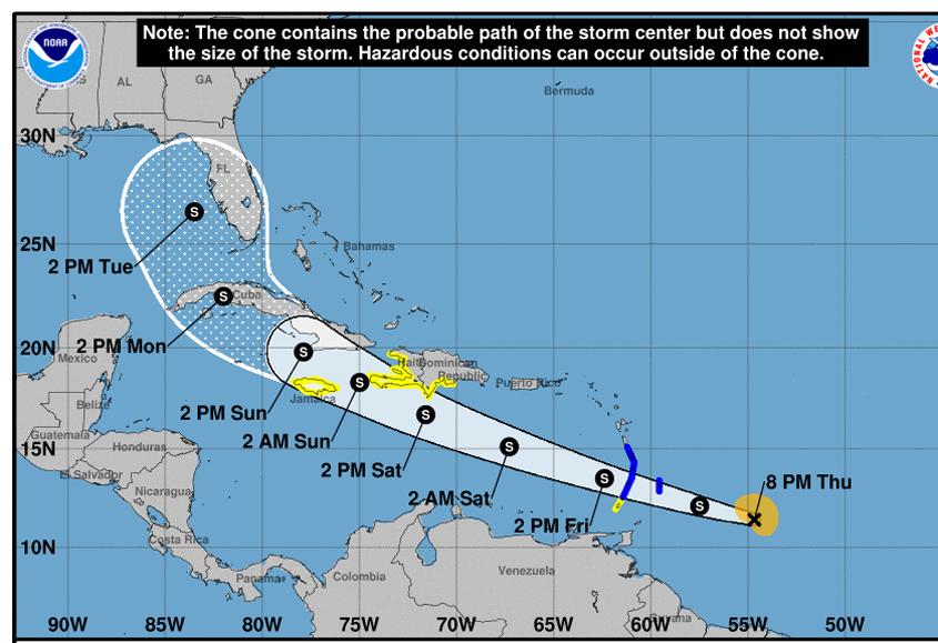 Tropical Storm Elsa less than 200 miles off Barbados