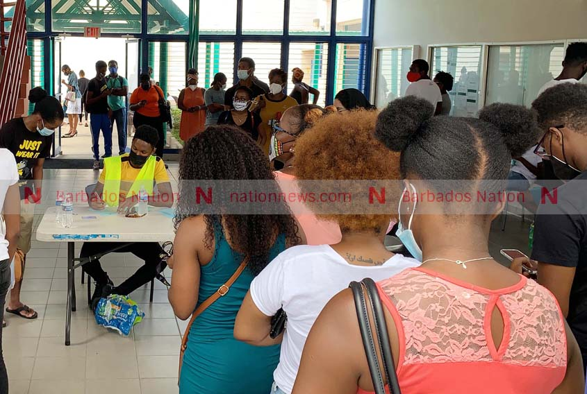 Large turnout for COVID vaccines at Cave Hill Campus