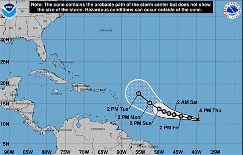 Tropical Storm Sam forms